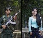 En esta imagen del 15 de agosto de 2016 se ven dos retratos de Carolina. En uno sostiene un arma y viste con su uniforme del frente 49 de las Fuerzas Armadas Revolucionarias de Colombia, y la otra viste de civil en un campamento de guerrilla en la jungla sureña de Putumayo, Colombia. Carolina, de 18 años, dijo que ha pasado tres años con las FARC y le gustaría estudiar ingeniería, tras desmovilizarse como parte de un acuerdo de paz con el gobierno colombiano. (AP Foto/Fernando Vergara)