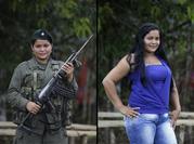 En esta imagen del 16 de agosto de 2016 se ven dos retratos de Derly. En uno sostiene un arma y viste con su uniforme del frente 49 de las FARC, y la otra viste de civil en un campamento de guerrilla en la jungla. Derly, de 24 años, dijo que lleva nueve años con las FARC. (AP Foto/Fernando Vergara)