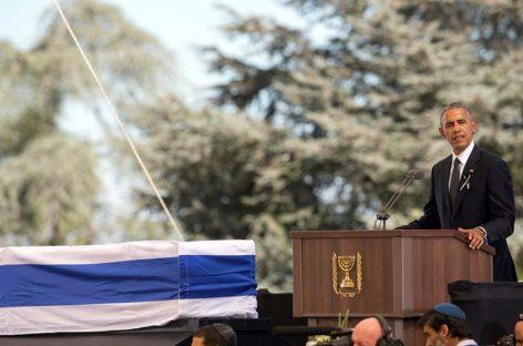 Obama exhorta a Israel a retomar camino de la paz en funeral de Peres