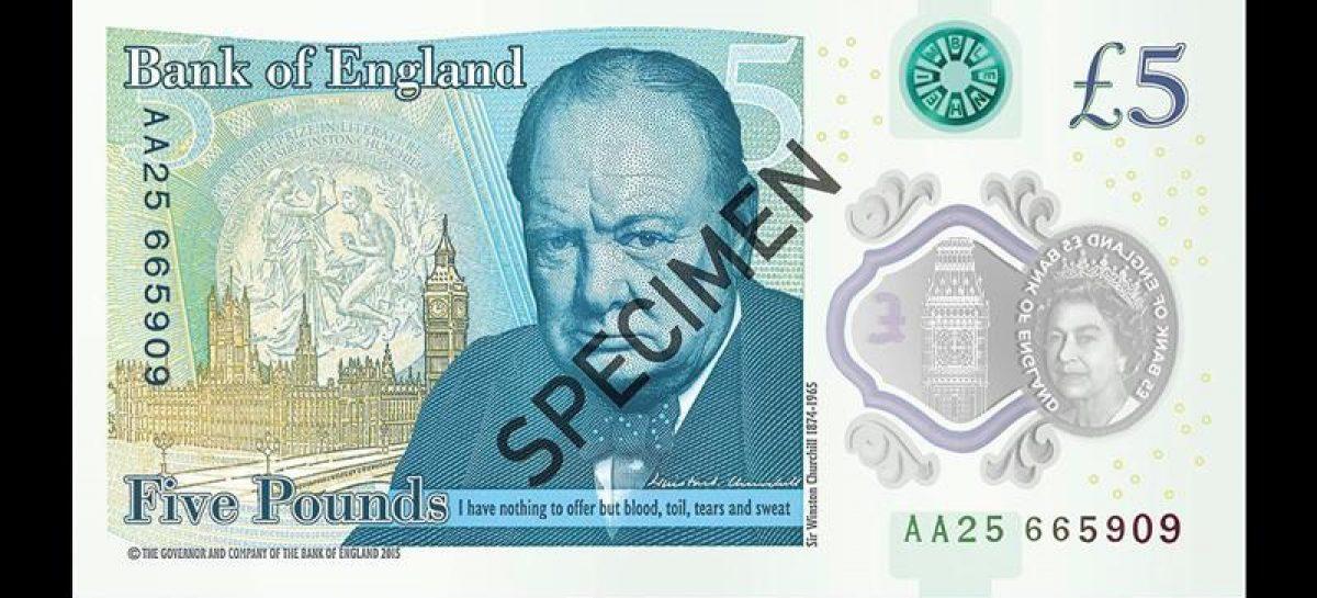 Entra en circulación un billete de plástico de 5 libras