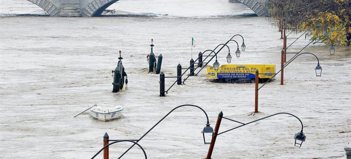 Italia registró inundaciones y está enalerta por la crecida del río Po