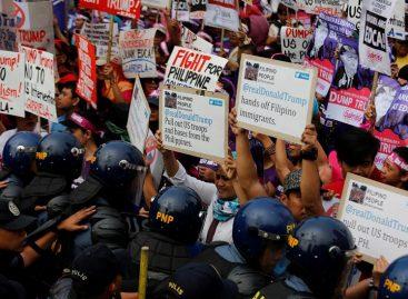 Protestaron ante la embajada de EE.UU. en Manila contra Trump