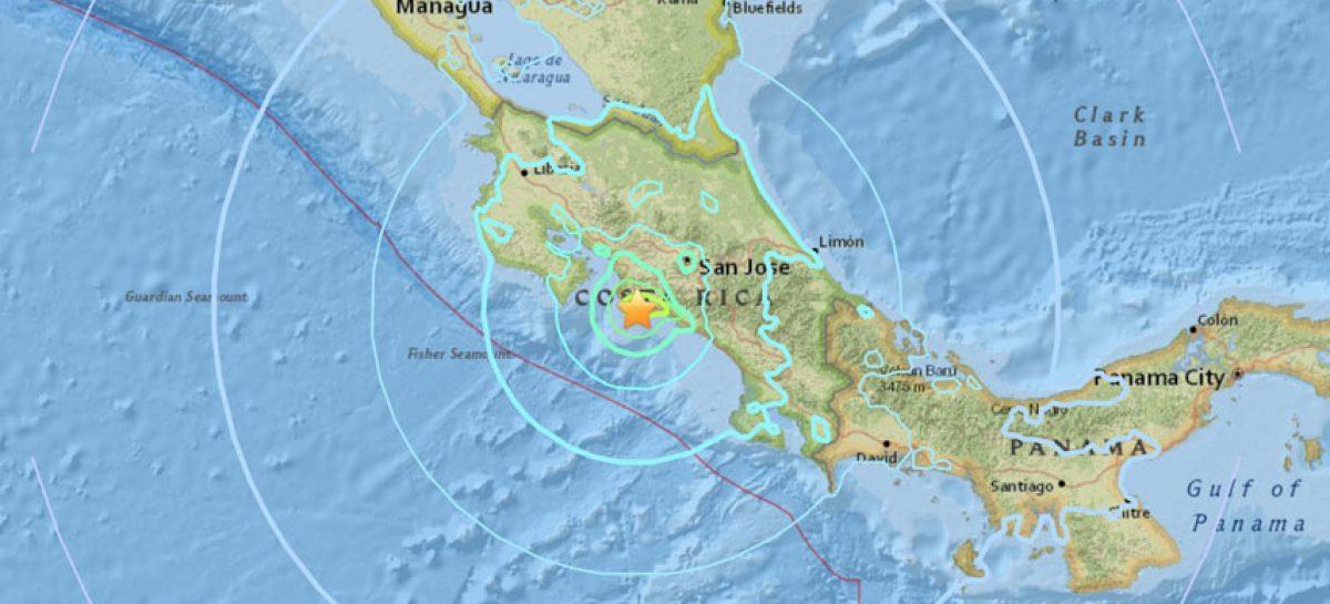 Sismo de magnitud 5,2 sacudió el Pacífico sur de Costa Rica