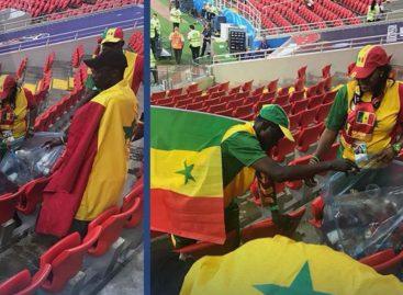Fanáticos de Senegal y Japón recogen sus desperdicios tras disfrutar de victorias en Rusia 2018