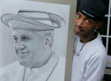 Un artista retrató al Papa Francisco con un sombrero «pinta'o»