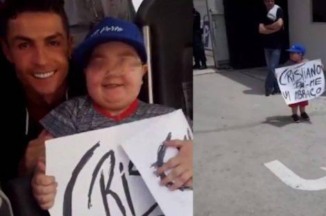¡CONMOVEDOR! Cristiano Ronaldo detuvo bus de Portugal para abrazar a niño con leucemia (+Video)
