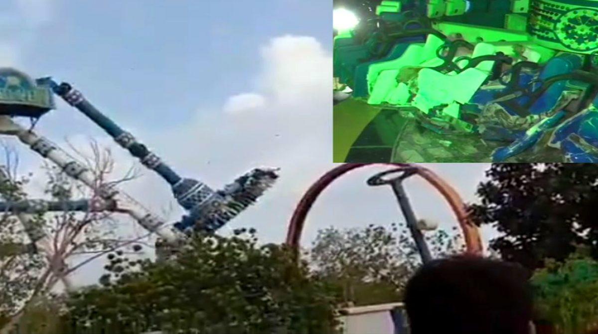 El fatal momento en el que se partió la atracción mecánica de un parque en India (+Video)