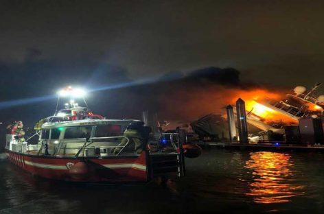 Se incendió en Miami un yate del cantante Marc Anthony